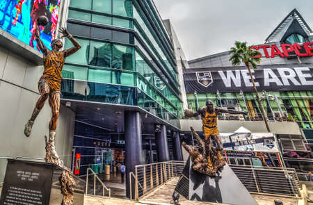 Los Angeles, CA, USA - October 28, 2016: Magic and Kareem statues at Staple Center
