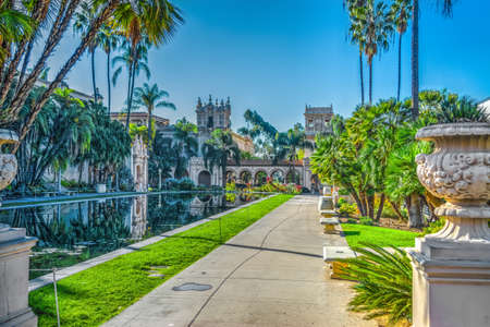 Walk path by the pond in Balboa park, California