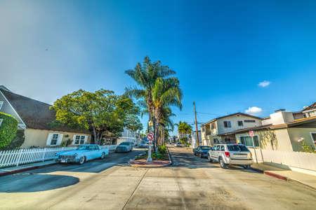 Empty street in Balboa island, Newporto Beach. California, USA