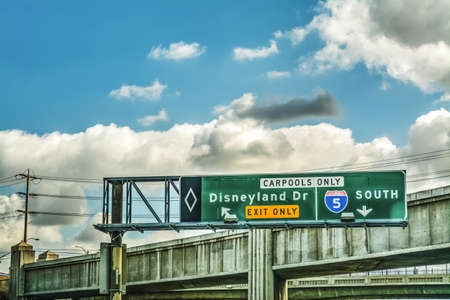 Disneyland Dr exit sign on Interstate 5 south. Los Angeles, California