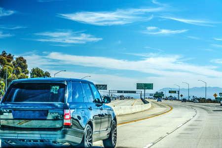 Traffic on Ventura freeway northbound. Los Angeles, California Stock Photo