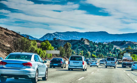 Traffic on 101 freeway southbound in Los Angeles, California Фото со стока