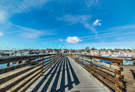 Wooden boardwalk in Balboa Island, California