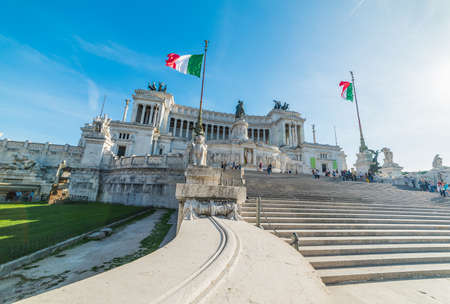 Altar of the fatherland on a sunny day in Rome, Italy Stock Photo