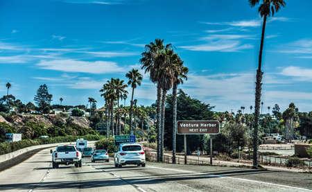 Traffic on 101 freeway southbound, California