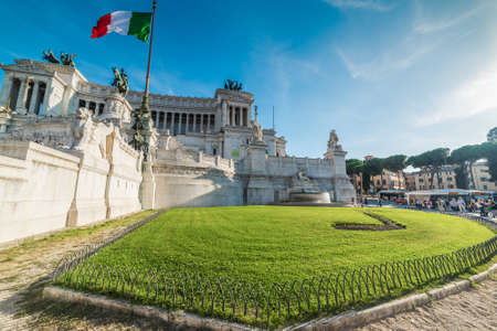 Rome, Italy - October 12, 2017: Green lawn by Altar of the Fatherland