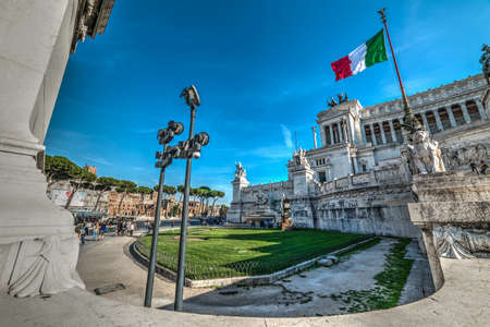 Rome, Italy - October 12, 2017: People in Piazza Venezia Editorial
