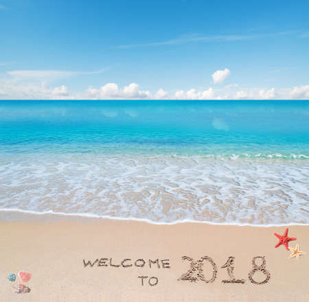 """""""2018에 오신 것을 환영합니다""""라고 쓰여진 껍데기와 바다의 별이있는 터키석 물과 황금빛 모래 스톡 콘텐츠 - 91905324"""