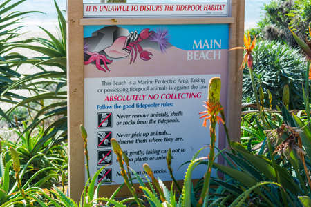 Laguna Beach, CA, USA - November 03, 2016: Tidepool habitat sign at the beach