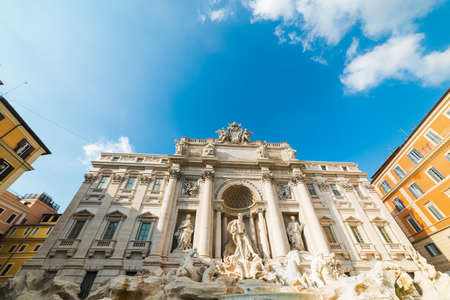 Front view of world famous Fontana di Trevi in Rome, Italy