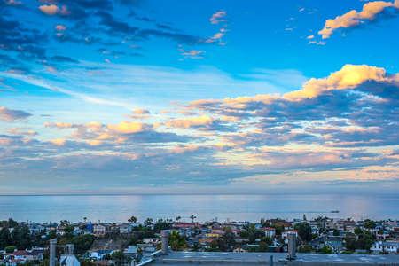 Cloudy sky over Hermosa Beach at dawn, California