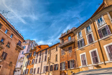 Clear sky over a picturesque square in Rome, Italy
