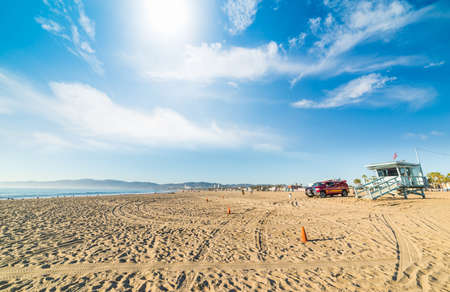 Lifeguard hut and truck in Venice Beach, California
