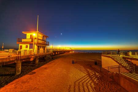 Manhattan Beach pier by night. California, USA
