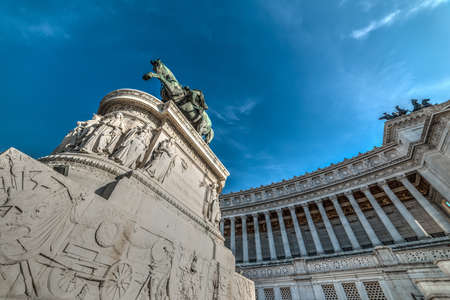 Vittorio Emanuele II statue seen from below in Altar of the fatherland in Rome, Italy Editorial