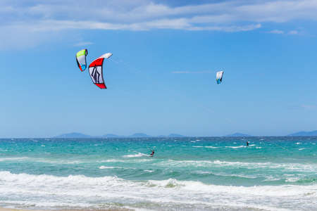 Kite surfer in Sardinia, Italy Stock Photo