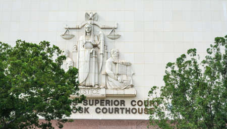Superior court facade in downtown Los Angeles, California
