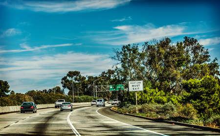 Traffic on 101 freeway southbound. California, USA