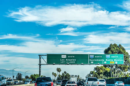 Traffic on Freeway 101 southbound. Los Angeles, California