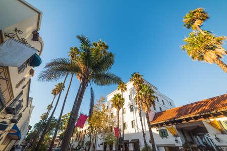 State street in Santa Barbara on a clear day, California