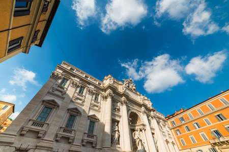 Cloudy sky over world famous Fontana di Trevi in Rome, Italy