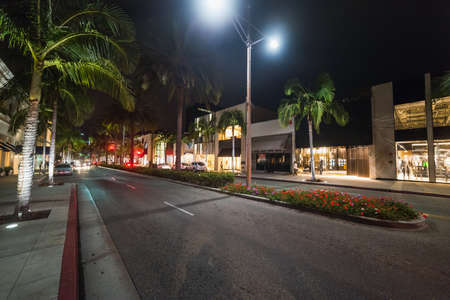 Palm trees in Rodeo Drive at night. Beverly Hills, California Stock Photo