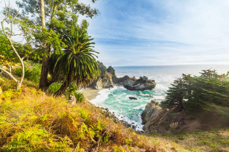 McWay falls in Big Sur state park under a blue sky. California, USA Stock Photo