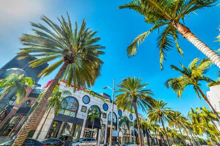 Rodeo Drive under a shining sun, Beverly Hills. California, USA Banco de Imagens