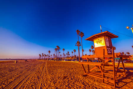 Blue sky over Newport Beach at sunset. California, USA