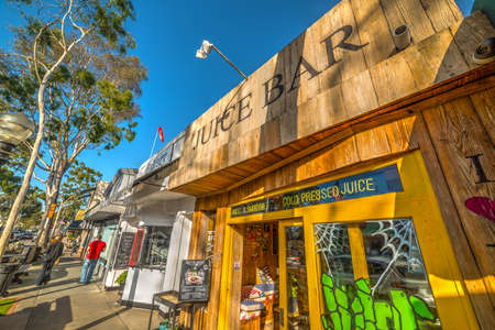Newport Beach, CA, USA - November 02, 2016: Picturesque shops in Balboa Island