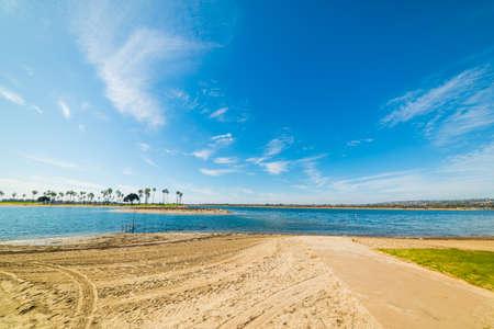 Sandy shore in Mission Bay, San Diego. California, USA