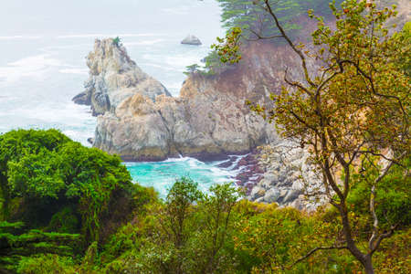 Rocky shore in Big Sur state park. Central California, USA