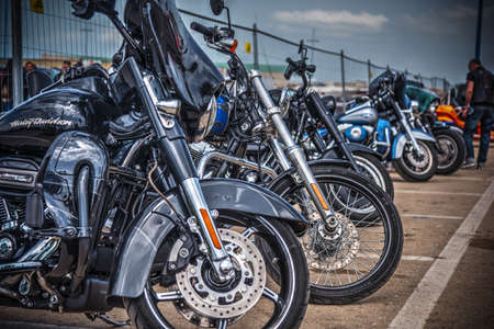 Alghero, Italy - April 08, 2018: Several Harley Davidsons at American Motor Festival 2018