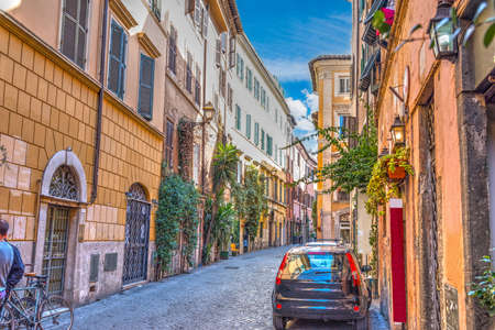 Picturesque street in Trastevere. Rome, Italy