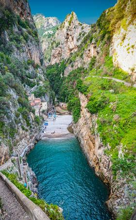 Famous Furore fjord in Amalfi coast. Campania, Italy