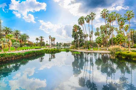 Lago Echo Park en un día nublado en Los Ángeles. Sur de California, EE. UU. Foto de archivo