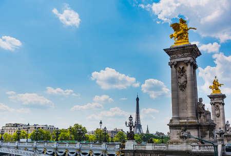 Pegasus statue in Alexander III bridge over Seine river in Paris, France