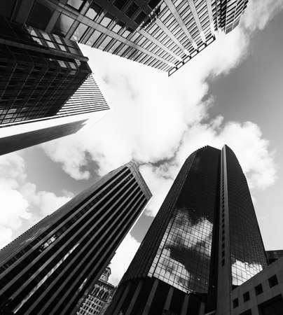 Tall skyscrapers in downtwon San Francisco in black and white effect. Northern California, USA Zdjęcie Seryjne