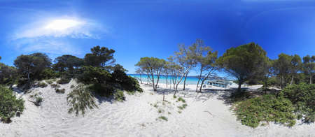 360 degrees view of Maria Pia beach under a shining sun. Alghero, Italy