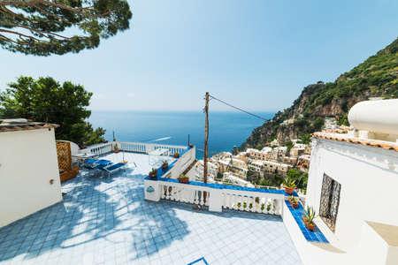 Terrace by the sea in Positano. Amalfi coast, Italy