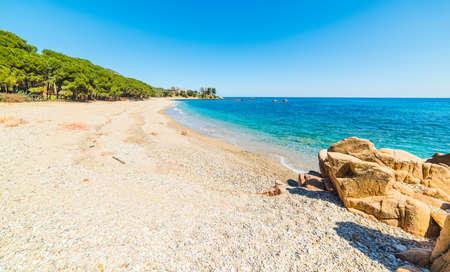 Pebbles and rocks in Santa Maria Navarrese beach. Sardinia, Italy