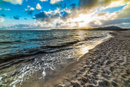 Sandy shore under a cloudy sky at sunset. Sardinia, Italy