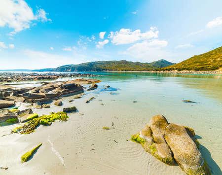 Clear water in Punta Molentis shore. Sardinia, Italy