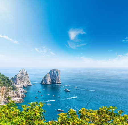 Capri sea stacks on a sunny day. Campania, Italy