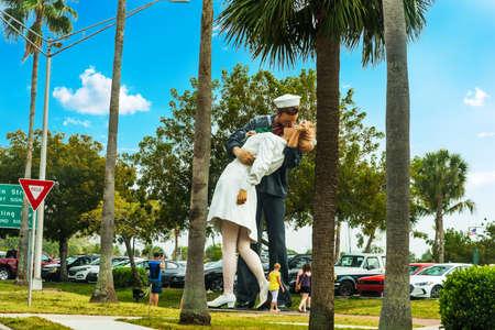 Sarasota, USA - February 24, 2019: The Unconditional Surrender Statue in Sarasota bayfront