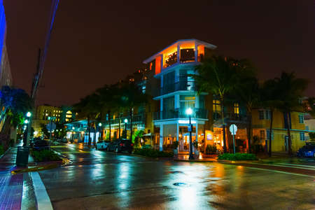 Crossroad in world famous Ocean Drive at night. Miami Beach, USA