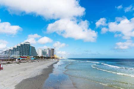 Daytona Beach shore on a cloudy day. Florida, USA Stock Photo