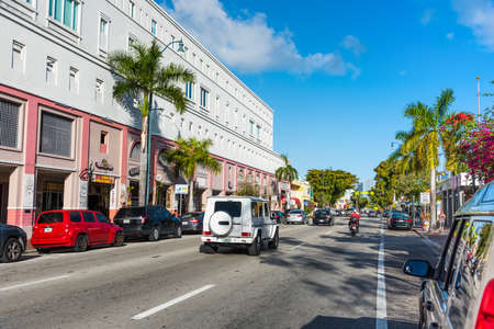 Miami, USA - February 21, 2019: Calle Ocho in Little Havana on a sunny day