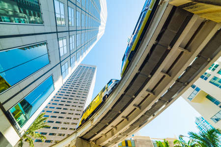 Monorail in downtown Miami seen from below. Southern Florida, USA Reklamní fotografie