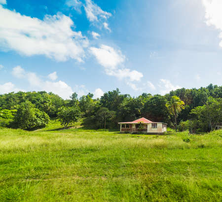 Picturesque house in Guadeloupe countryside, French west indies. Lesser Antilles, Caribbean Stock Photo